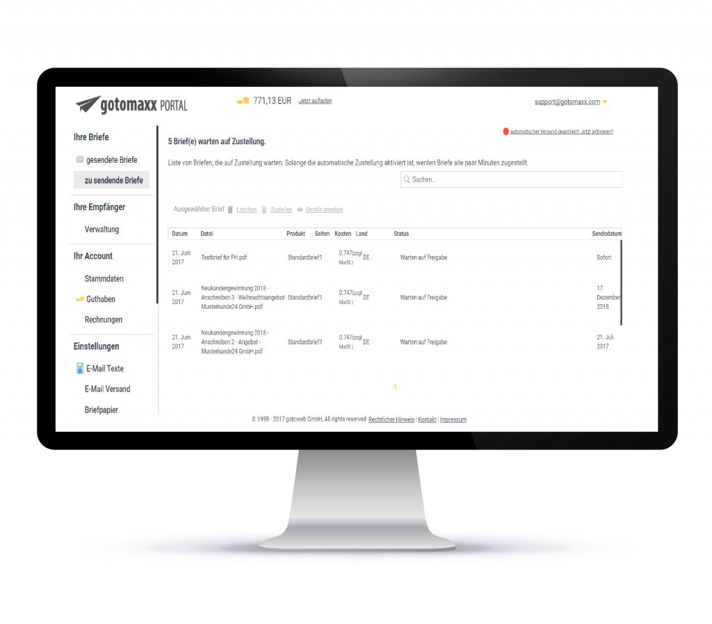 PDFMAILER - Services - PDF - Anschlussmoeglichkeit: Postbrief- u. Portalservices