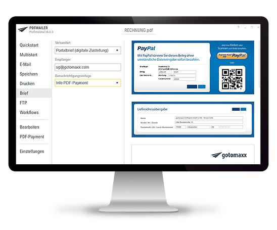 PDFMAILER Brief Portalbrief mit PDF-Payment